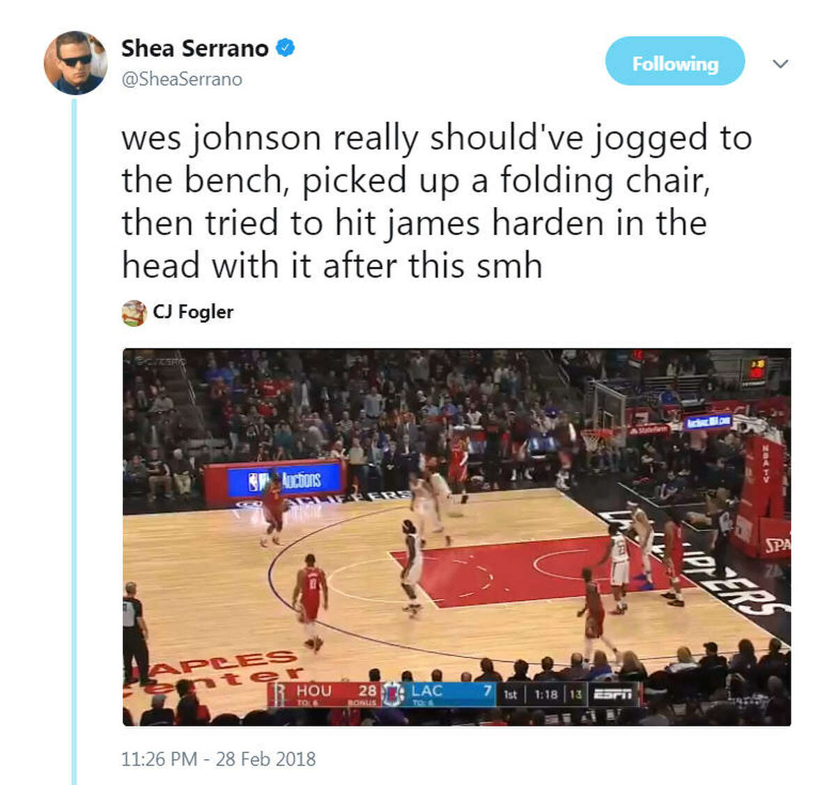 Rockets star James Harden went viral on Feb. 28, 2018 after pulling a crossover move that caused Clippers' player Wes Johnson to fall. Harden is accused of stealing Johnson's soul after staring him down and sinking a three-point shot after the move.Image source: Twitter