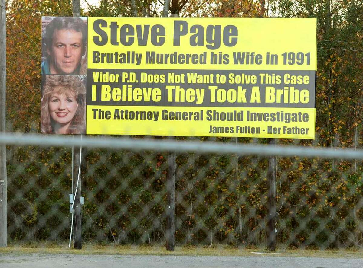 This billboard demanding justice for the murder of Katherine Page, went up in 2012. (Guiseppe Borranco/Beaumont Enterprise)