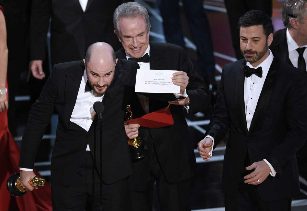 Acknowledging last year's infamous Oscar goof in a fresh way will be a challenge, Jimmy Kimmel said. In this 2017 photo, Jordan Horowitz, producer of