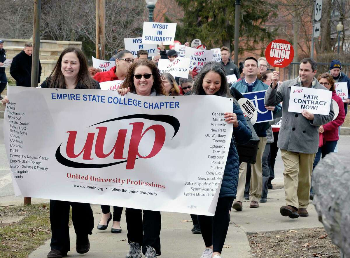 United University Professions (UUP) demonstrate outside Empire State College Thursday March 1, 2018 in Saratoga Springs, NY.(John Carl D'Annibale/Times Union)