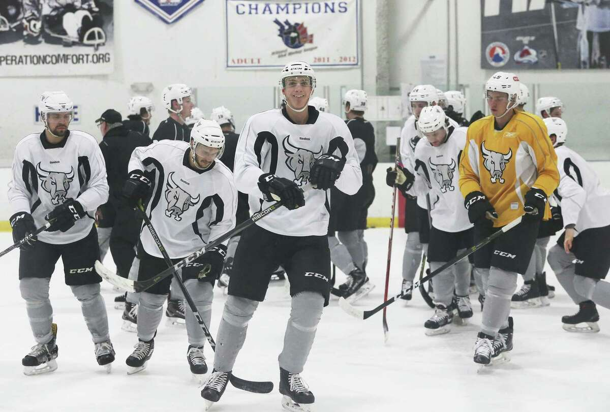 Tage Thompson practices with the San Antonio Rampage at their practice facility on February 21, 2018.