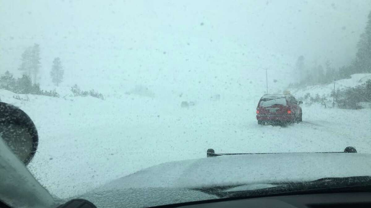 Heavy snowfall and blizzard conditions closed I-80 eastbound at Alta and westbound at Truckee on March 1, 2018.