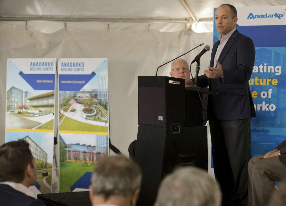 Chad McAllaster, Anadarko vice president of Delaware Basin Development, welcomes employees and Midlanders to the ground breaking ceremony  03/01/18 for the new regional headquarters being built near the sports complex. Tim Fischer/Reporter-Telegram Photo: Tim Fischer/Midland Reporter-Telegram