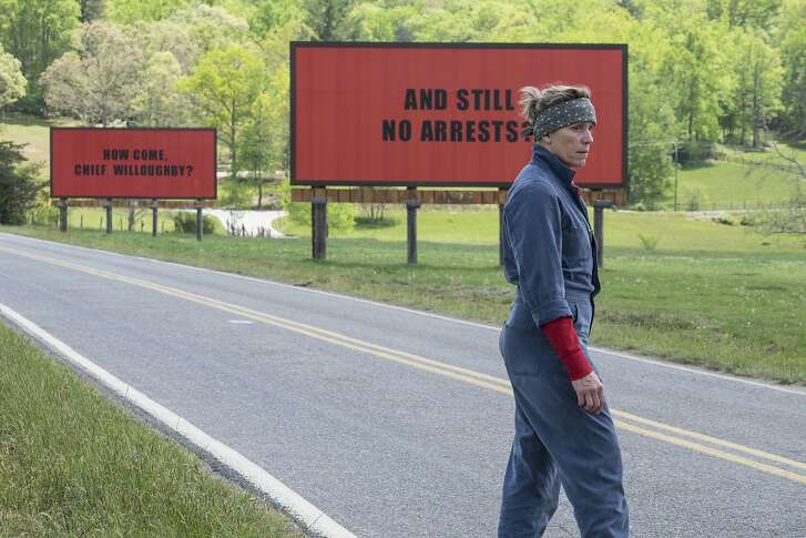 """This image released by Fox Searchlight shows Frances McDormand in a scene from """"Three Billboards Outside Ebbing, Missouri,"""" which is nominated for an Oscar for best picture. (Fox Searchlight via AP)"""