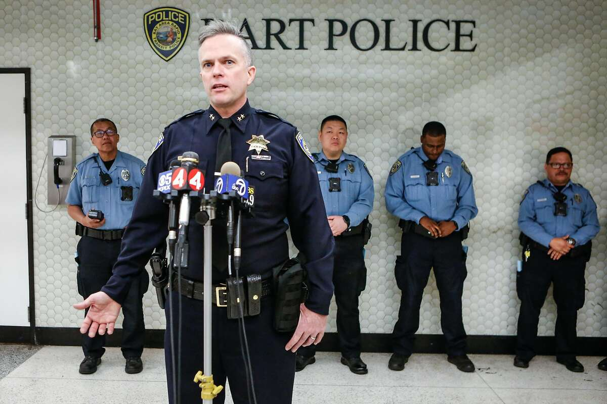 Deputy Chief of Police, Lance Haight, introduces the new ticket/clipper card readers to the media at Powell Station on Thursday, February 28, 2018 in San Francisco, California.