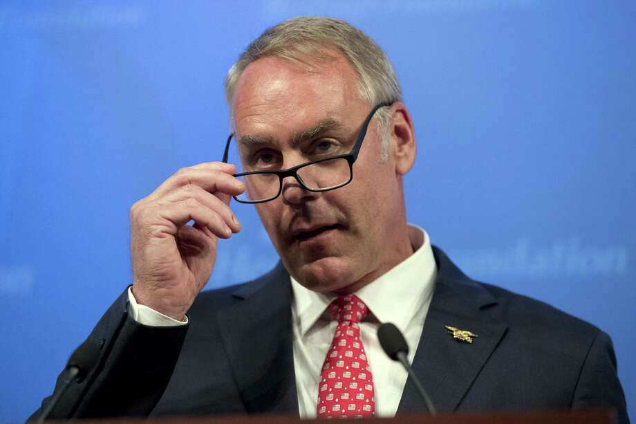 Interior Secretary Ryan Zinke speaks on the Trump Administration's energy policy at the Heritage Foundation in Washington last year. (AP Photo/Andrew Harnik,File) Photo: Andrew Harnik, STF / Associated Press / Copyright 2018 The Associated Press. All rights reserved.