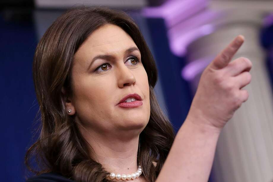 WASHINGTON, DC - MARCH 01:  White House Press Secretary Sarah Huckabee Sanders calls on reporters during a news briefing at the White House March 1, 2018 in Washington, DC. Sanders refused to answer any questions about details of the plan announced by President Donald Trump to impose stiff tarriffs on steel and aluminum imports.  (Photo by Chip Somodevilla/Getty Images) Photo: Chip Somodevilla, Getty Images