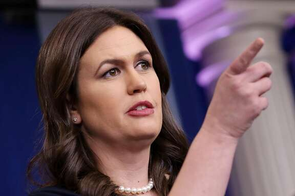 WASHINGTON, DC - MARCH 01:  White House Press Secretary Sarah Huckabee Sanders calls on reporters during a news briefing at the White House March 1, 2018 in Washington, DC. Sanders refused to answer any questions about details of the plan announced by President Donald Trump to impose stiff tarriffs on steel and aluminum imports.  (Photo by Chip Somodevilla/Getty Images)