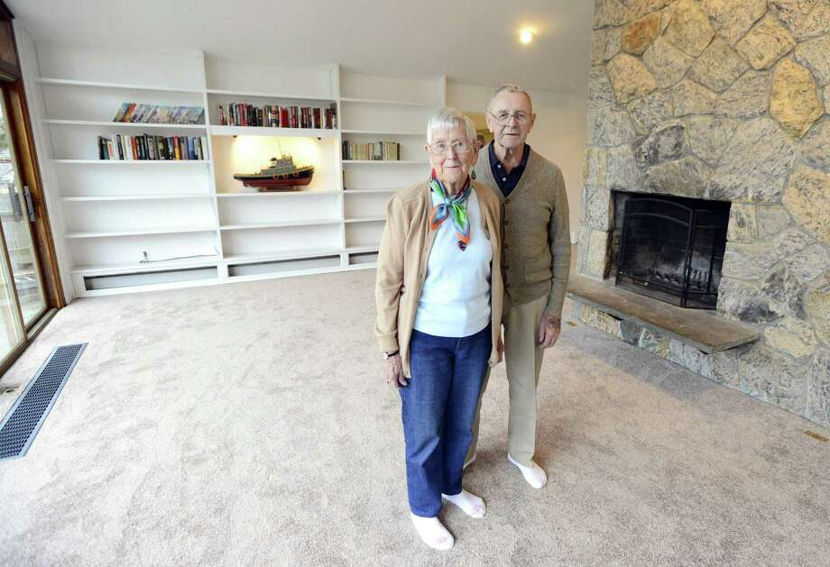Owners Inger and Art Ruffels are photographed on Thursday, Feb. 22, 2018 in their home in Stamford, Connecticut. An unusual midcentury ranch is part of the Davenport Association, a private community nestled on the water. Photo: Matthew Brown / Hearst Connecticut Media / Stamford Advocate