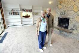 Owners Inger and Art Ruffels are photographed on Thursday, Feb. 22, 2018 in their home in Stamford, Connecticut. An unusual midcentury ranch is part of the Davenport Association, a private community nestled on the water.