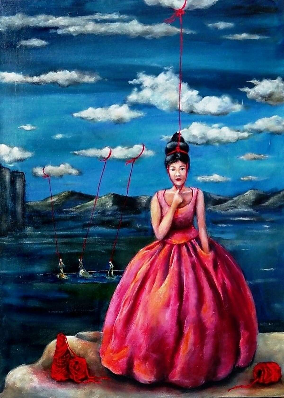 """""""Cloud Walkers Tied to Intuition,"""" by Cynthia Tom. Tom is one of five local artists featured in Madrigal Family Winery's """"Women who Paint Women"""" exhibition, through April 14. Photo courtesy Cynthia Tom"""