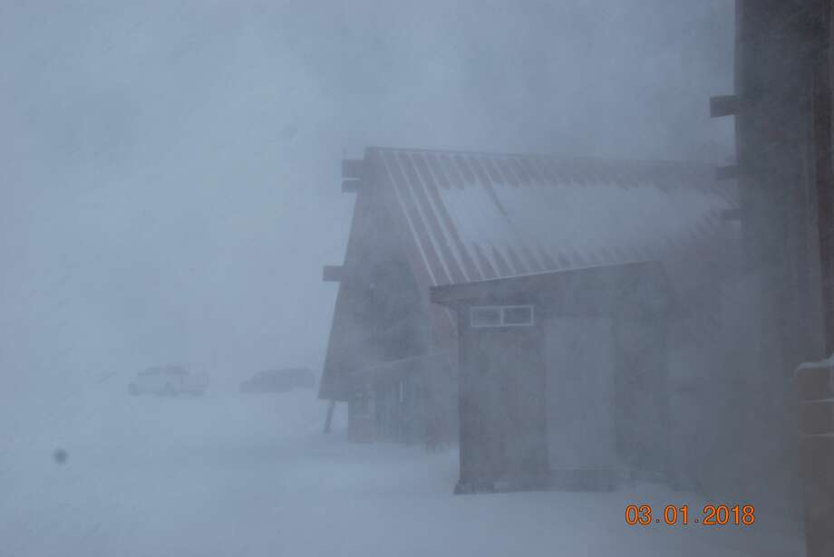 Whiteout conditions at Mt. Rose Ski Resort on March 1, 2018. The resort was forced to closed Thursday but will have lots of fresh powder when it reopens after the worst of the storm passes. Photo: Mt. Rose Ski Tahoe