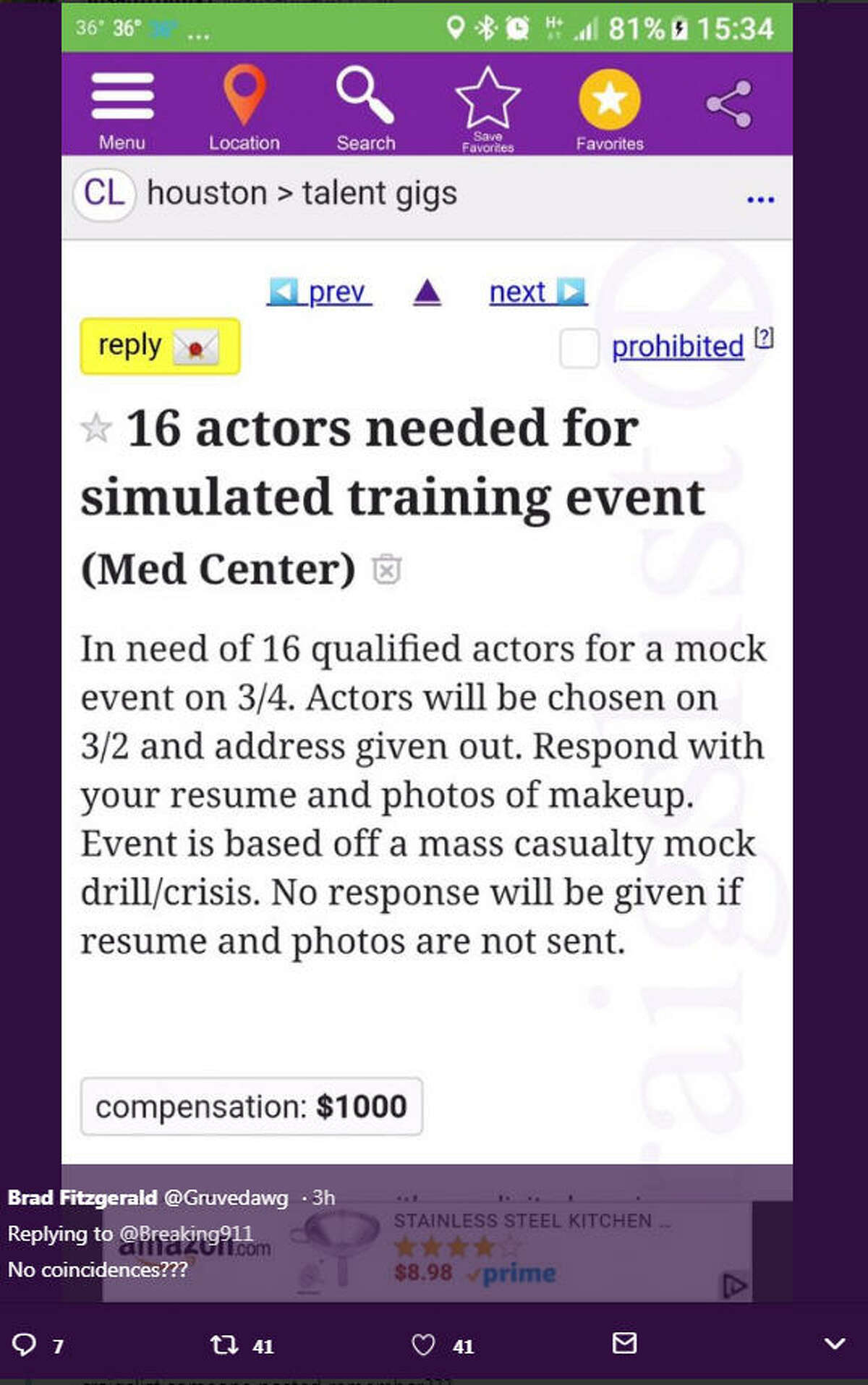 Houston's FBI office has attempted to ease concerns raised over at least one Craigslist post calling for crisis actors in the city.