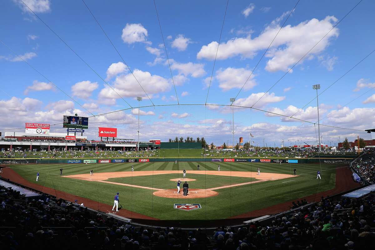 MESA, AZ - FEBRUARY 28: General view of action between the Chicago Cubs and the Oakland Athletics during the fourth inning of the spring training game at Sloan Park on February 28, 2018 in Mesa, Arizona. (Photo by Christian Petersen/Getty Images)