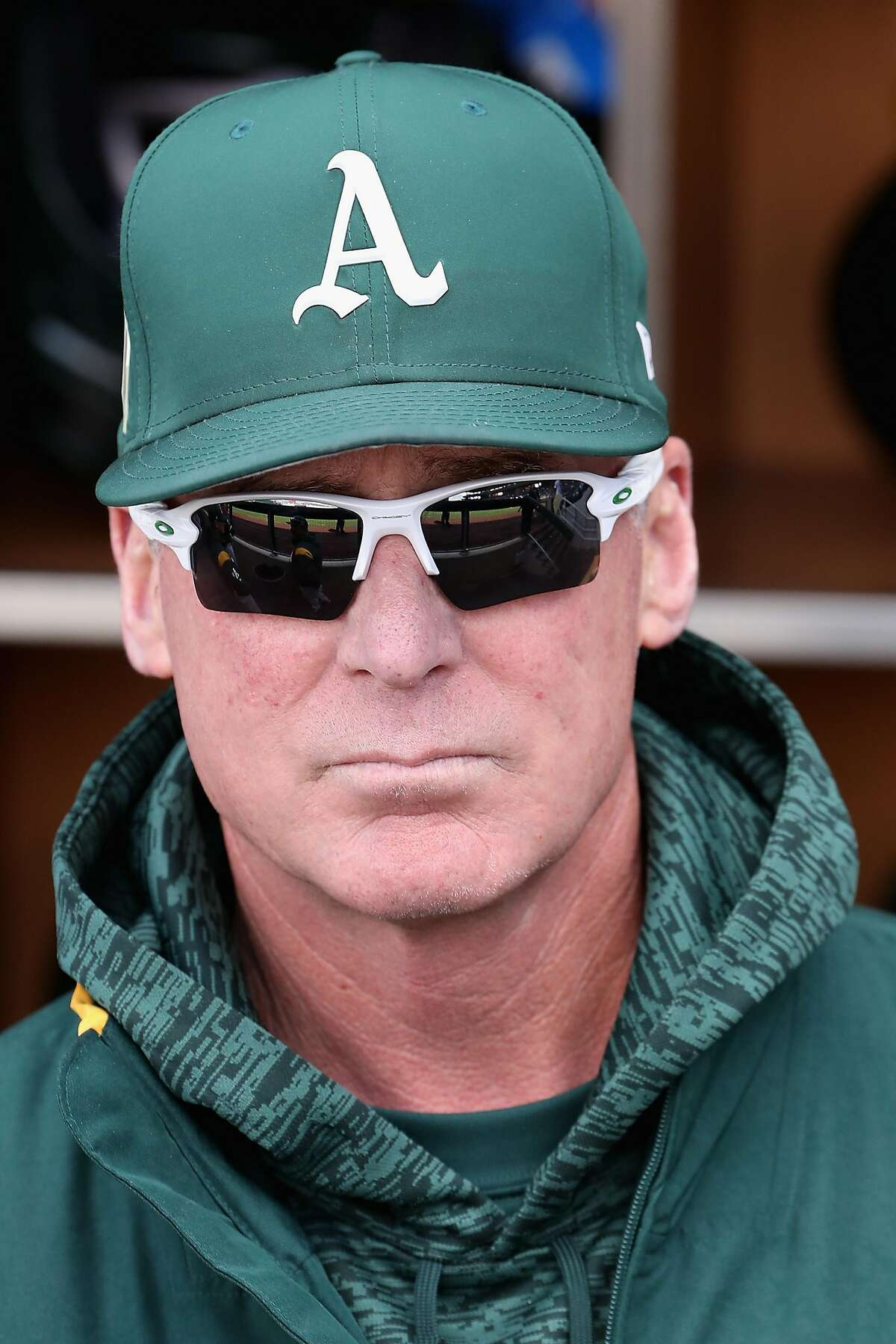 MESA, AZ - FEBRUARY 28: Manager Bob Melvin #6 of the Oakland Athletics watches from the dugout before the spring training game against the Chicago Cubs at Sloan Park on February 28, 2018 in Mesa, Arizona. (Photo by Christian Petersen/Getty Images)