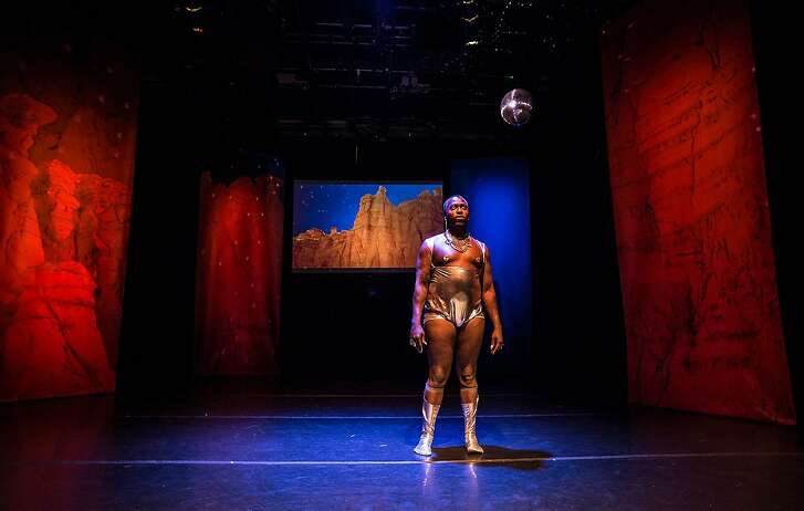Clement Hil Goldberg�s sci-fi performance �Epilogue for Our Future Ends� combines theater, music, animation and a dance party. Photo: Robbie Sweeny.