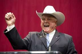 Commissioner of Agriculture elect Sid Miller addresses an audience at the GOP election night party in Austin on Tuesday, Nov. 4, 2014. (Kin Man Hui/San Antonio Express-News)