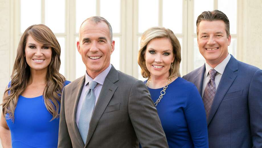 """S.A. forecast vet Bill Taylor seen at far right with his evening news team, explained why he's KENS-TV's chief weathercaster instead of """"meteorologist."""" Photo: Courtesy KENS-TV"""