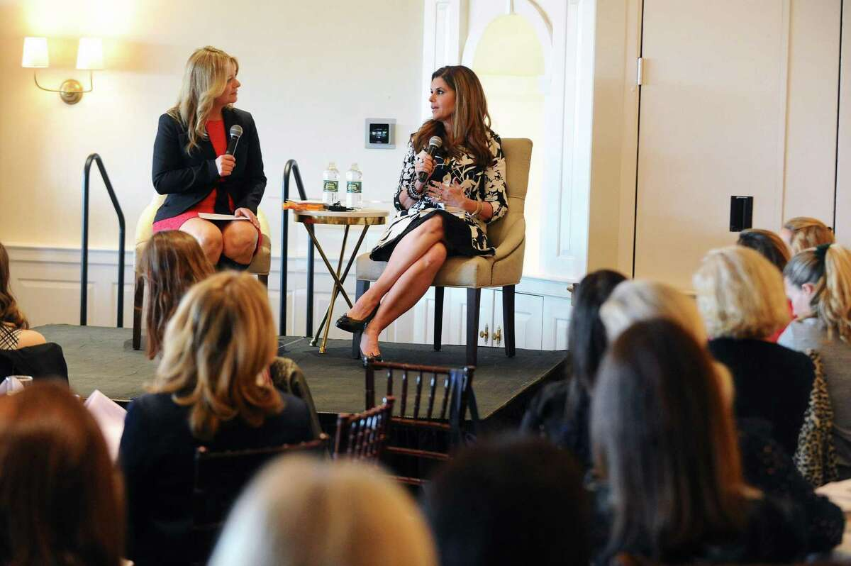 Best-selling author and journalist Maria Shriver, right, talks to News12 Connecticut reporter Gillian Neff during a Q&A session at the luncheon hosted by the Center for HOPE at the Country Club of Darien on Thursday.