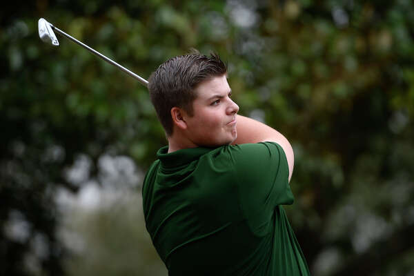 Little Cypress-Mauriceville golfer Jack Burke tees off while practicing at the Sunset Grove Country Club in Orange on Tuesday afternoon. Photo taken Tuesday 2/20/18 Ryan Pelham/The Enterprise