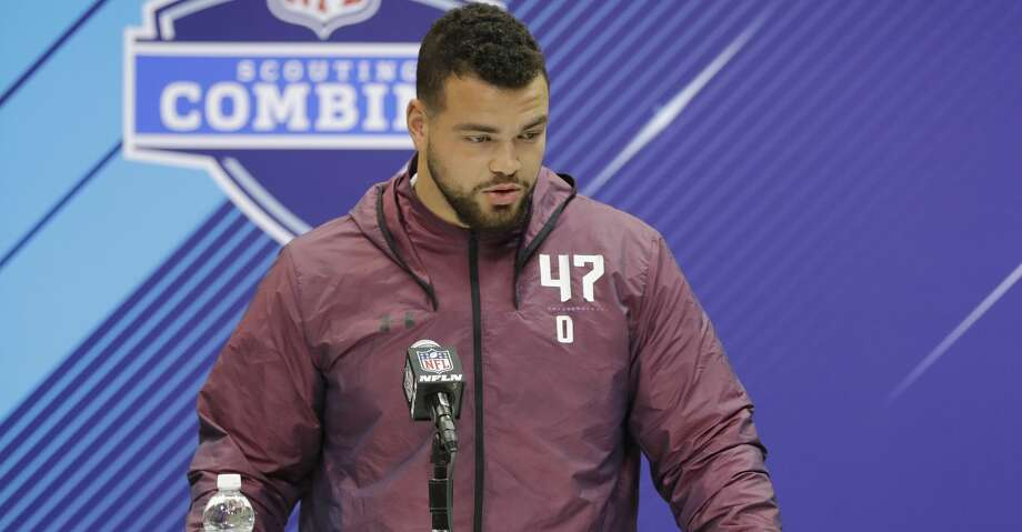 Texas offensive lineman Connor Williams speaks during a press conference at the NFL football scouting combine, Thursday, March 1, 2018, in Indianapolis. (AP Photo/Darron Cummings) Photo: Darron Cummings/Associated Press