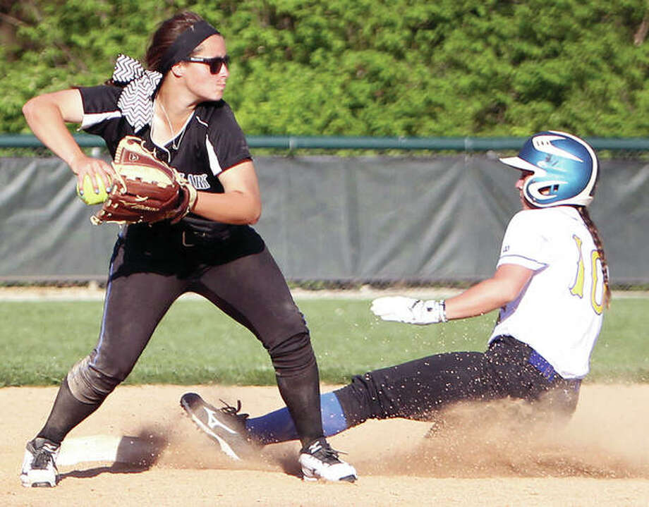 LCCC sophomore Taylor Derby, left, will be looked to for leadership this season, according to head coach Ronda Roberts. An infielder from Triad, Derby is shown relaying a double play last season against Illinois College. Photo: LC Athletics