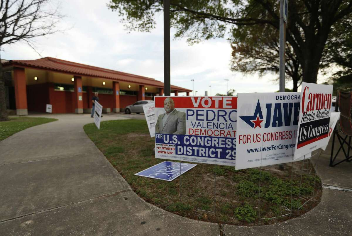 Campaign signs outside of the Moody Park Community Center.