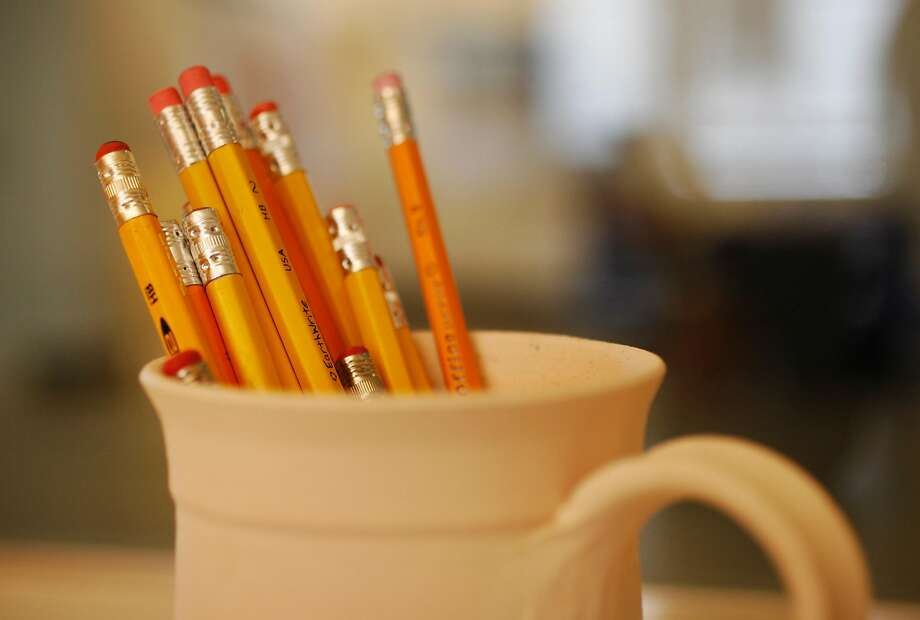 Pencils in a classroom. Would you arm teachers? Photo: Leah Millis, The Chronicle