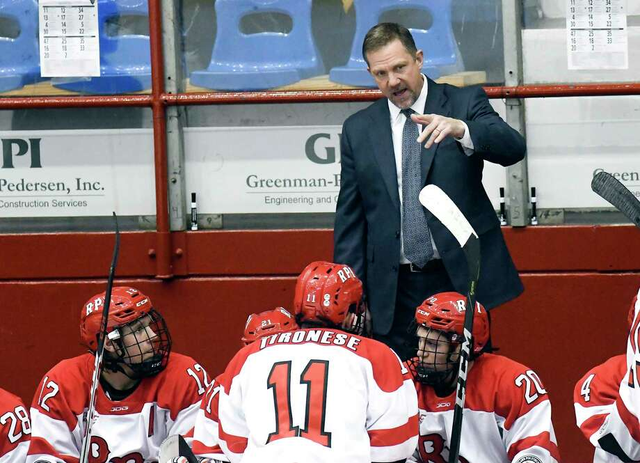 Rensselaer Polytechnic Institute head coach Dave Smith instructs his players against Maine during the first period of an NCAA college hockey game Friday, Dec. 29, 2017, in Troy, N.Y., (Hans Pennink / Special to the Times Union) Photo: Hans Pennink / Hans Pennink
