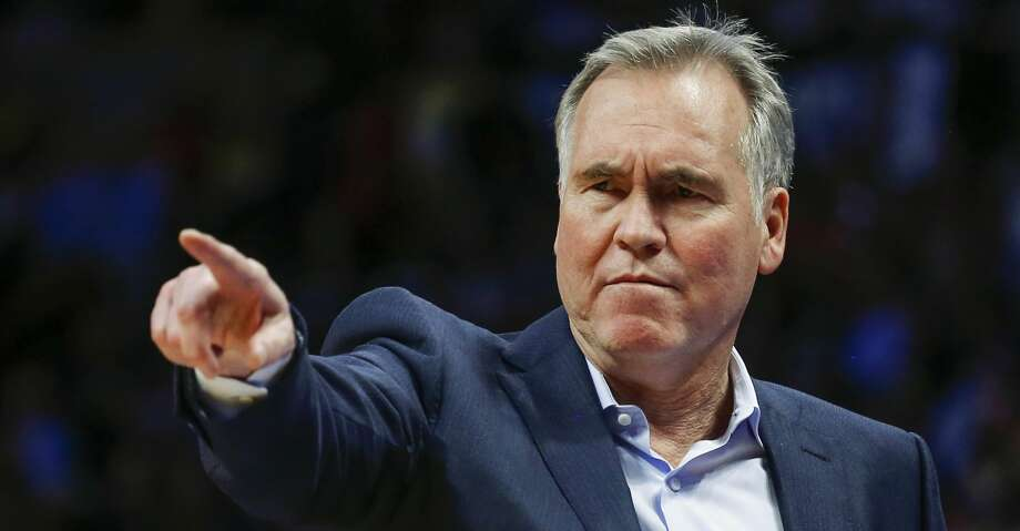 Houston Rockets head coach Mike D'Antoni points to make a change against the Denver Nuggets during the third quarter of an NBA basketball game, Sunday, Feb. 25, 2018, in Denver. (AP Photo/Jack Dempsey) Photo: Jack Dempsey/Associated Press