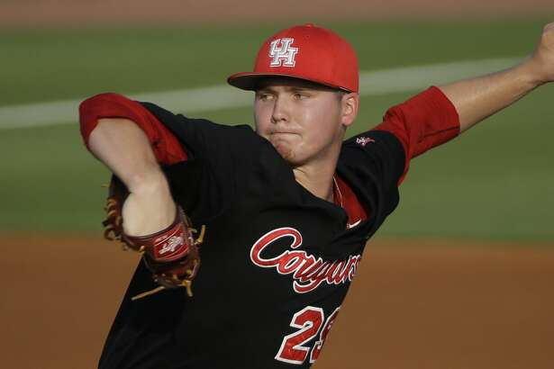 University of Houston Trey Cumbie pitches against Rice University during game in Reckling Park at Rice Tuesday, May 10, 2016, in Houston.  ( Melissa Phillip / Houston Chronicle )
