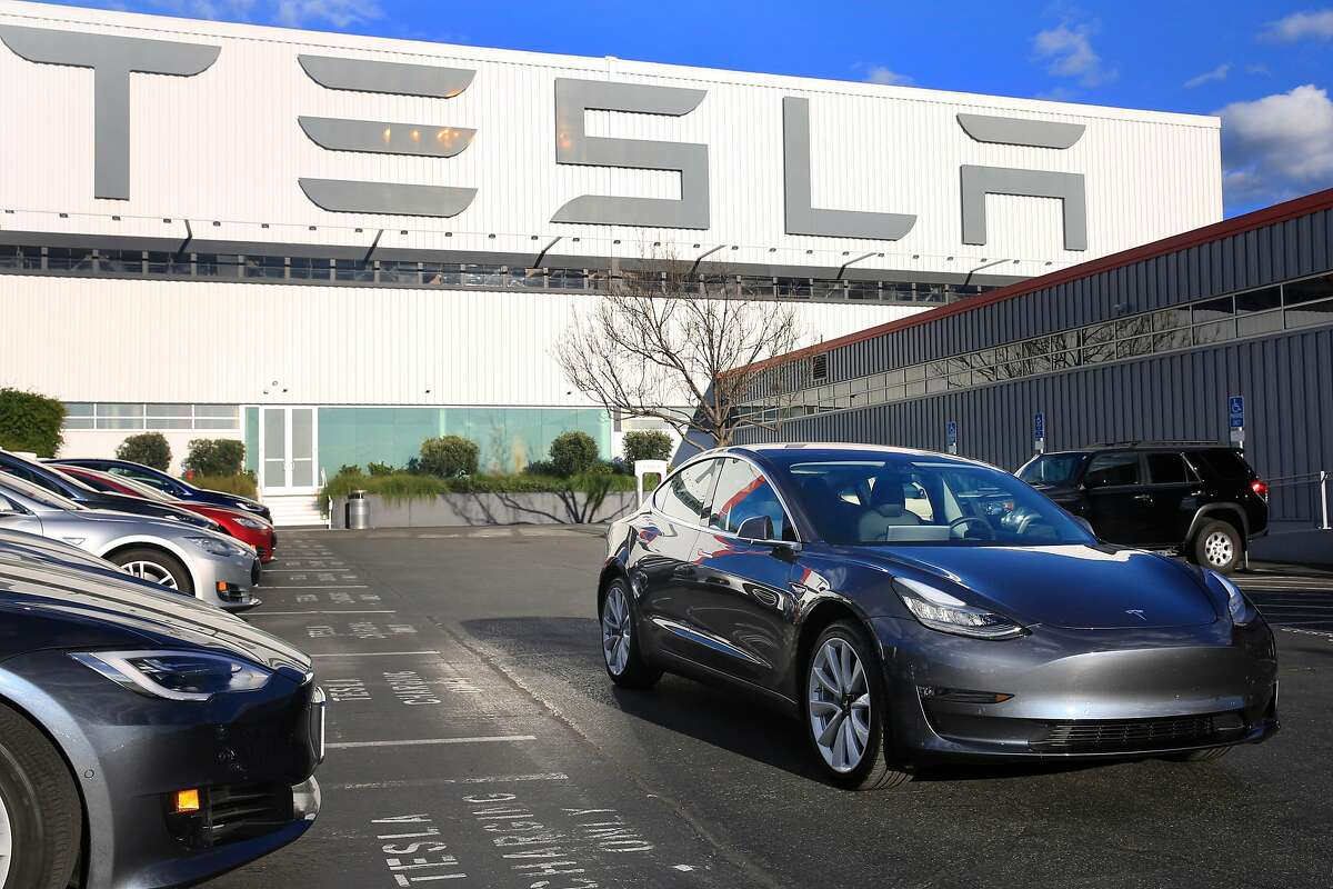 A Tesla Model 3 is seen in Fremont, Calif., on Monday, February�12, 2018.