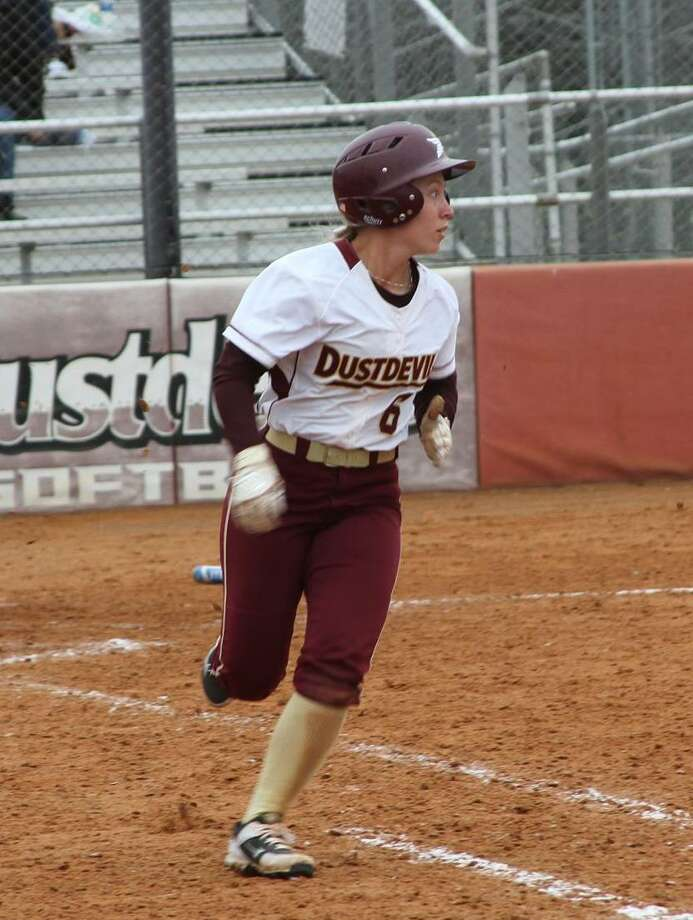 TAMIU center fielder Cassie Cannon was 3-for-4 with two runs scored in the Dustdevils' 8-2 win over Lubbock Christian. Photo: Courtesy Of TAMIU Athletics, File