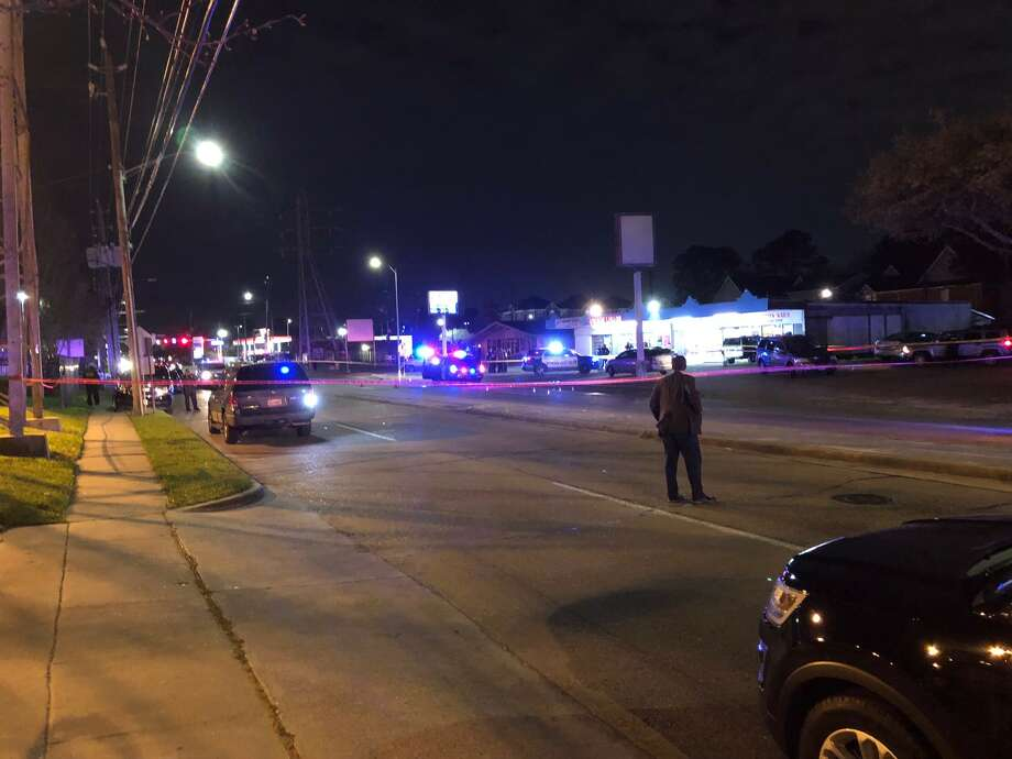 Two hospitalized in double shooting outside Houston fire station Thursday evening. (Jay Jordan/ Houston Chronicle) Photo: Jay Jordan/ Houston Chronicle