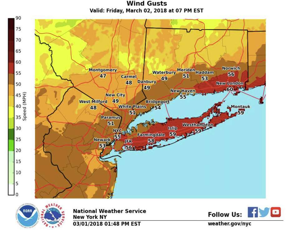 With a strong nor'easter expected late Thursday and Friday, the National Weather Service has posted a flood and high wind watch and a coastal flood advisory. Photo: National Weather Service