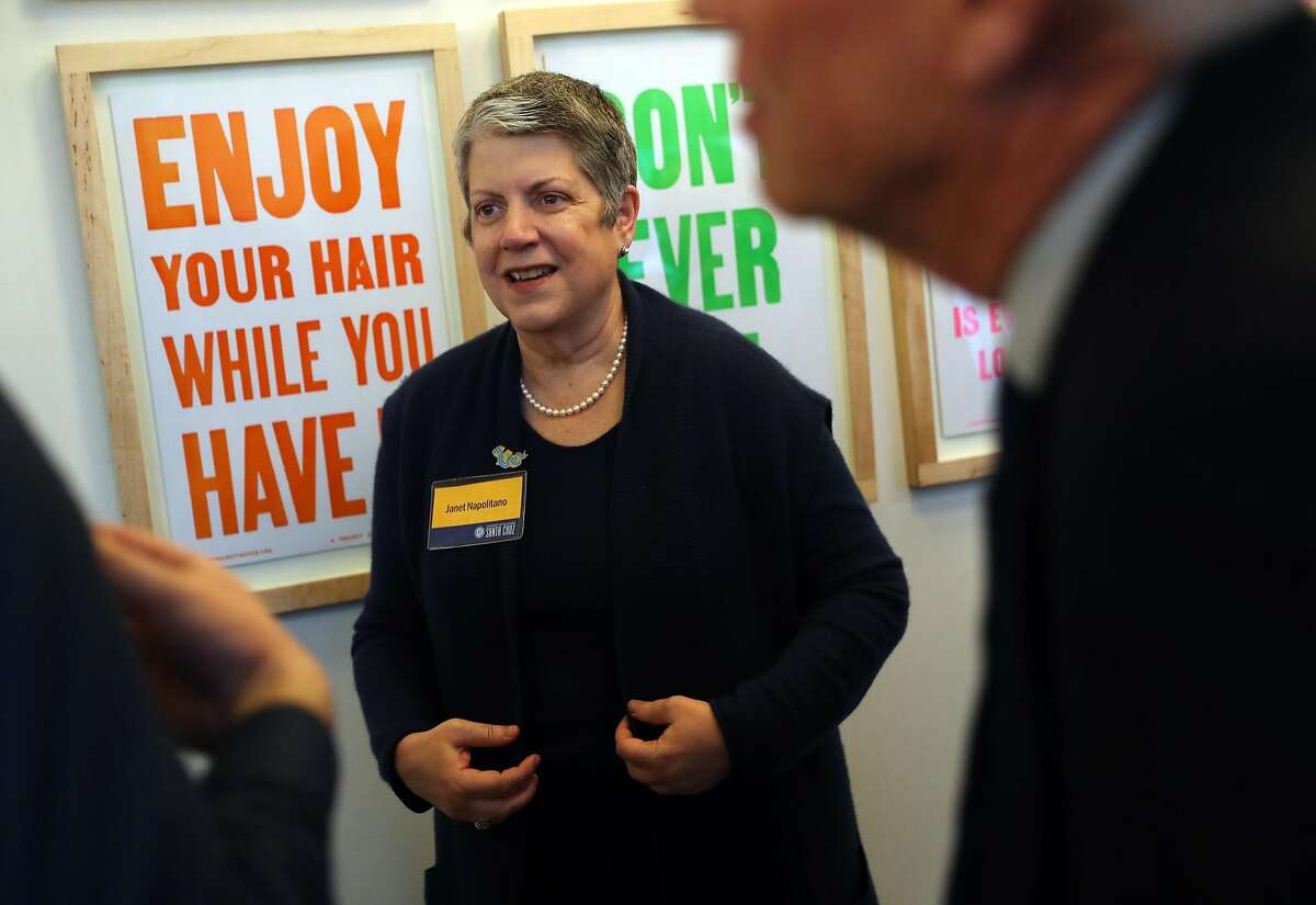 University of California President Janet Napolitano during a fundraiser for the Gabriel Zimmerman Memorial Scholarship fund in San Francisco, Calif., on Thursday, March 1, 2018.