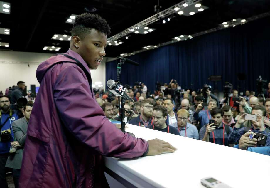 "Penn State running back Saquon Barkley says he doesn't care if he's selected ""1, 5 or 72 or the last pick,"" but he's likely to be one of the first players taken in the NFL draft. Photo: Darron Cummings, STF / Copyright 2018 The Associated Press. All rights reserved."