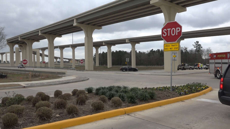 The stop signs for traffic coming out of the Valley Ranch Town Center retail development will soon be replaced with traffic signals. Photo: Courtesy Of Scott Engle/Montgomery County Police Reporter