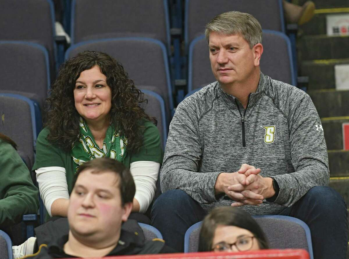 Erin and Tom Huerter watch their son Thomas Huerter of Siena play in a first-round MAAC basketball game against Quinnipiac at the Times Union Center on Thursday, March 1, 2018 in Albany N.Y. (Lori Van Buren/Times Union)