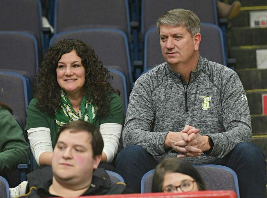 Erin and Tom Huerter watch their son Thomas Huerter of Siena play in a first-round MAAC basketball game against Quinnipiac at the Times Union Center on Thursday, March 1, 2018 in Albany N.Y. (Lori Van Buren/Times Union) Photo: Lori Van Buren