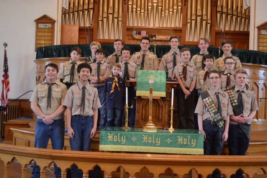 The Ballston Spa United Methodist Church hosted Troop 1 and Pack 1 for Scouting Sunday. The Scouts planned and delivered the entire Sunday service for the congregation. Eagle Scout Josh VanPatten and Eagle Scout candidate Karl Burket delivered the morning messages to the congregation. The Ballston Spa United Methodist Church has continually sponsored Troop 1 for 106 years. (Photo provided)
