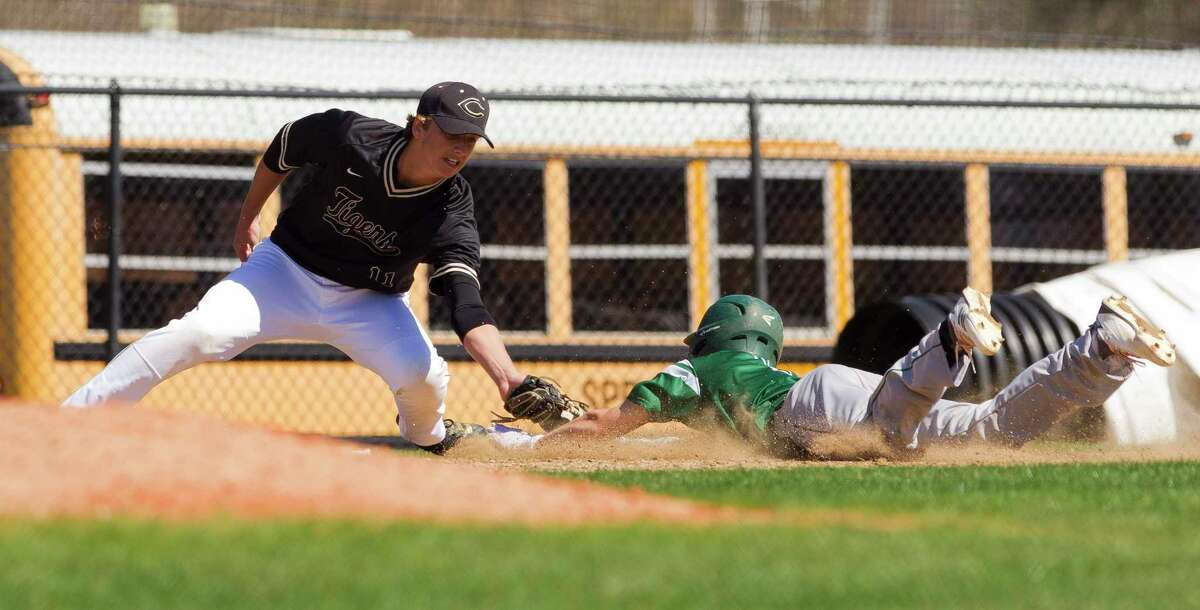Conroe third baseman Andrew Paulsey (11) tags out Clayton Miller #1 of Stratford at third base for the final out of the seventh inning of a high school baseball game during the Ferrell Classic at Conroe High School, Thursday, March 1, 2018, in Conroe. Conroe defeated Stratford 4-2.
