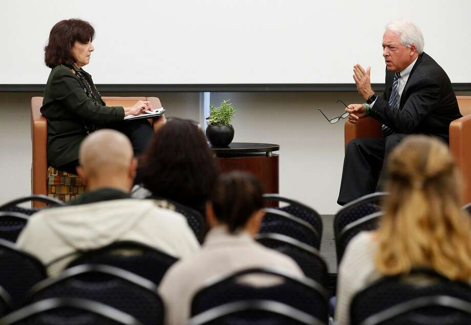 Carla Marinucci, Politico-California Playbook moderates a discussion with  GOP businessman and California gubernatorial candidate John Cox during a University of San Francisco forum in San Francisco, Calif., on Thurs. Mar.1, 2018. Photo: Michael Macor, The Chronicle
