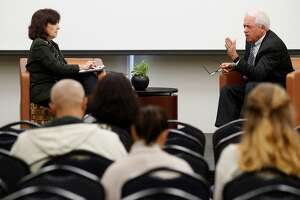 Carla Marinucci, Politico-California Playbook moderates a discussion with  GOP businessman and California gubernatorial candidate John Cox during a University of San Francisco forum in San Francisco, Calif., on Thurs. Mar.1, 2018.