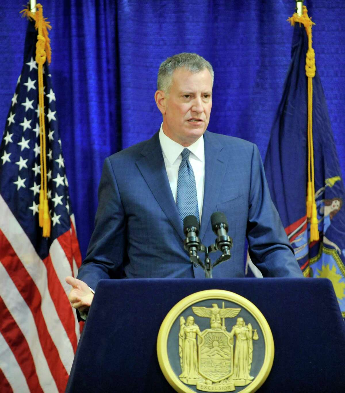 New York City Mayor Bill de Blasio talks to members of the media during a press conference following Governor Andrew Cuomo's State of the State address on Wednesday, Jan. 13, 2016, in Albany, N.Y. (Paul Buckowski / Times Union)
