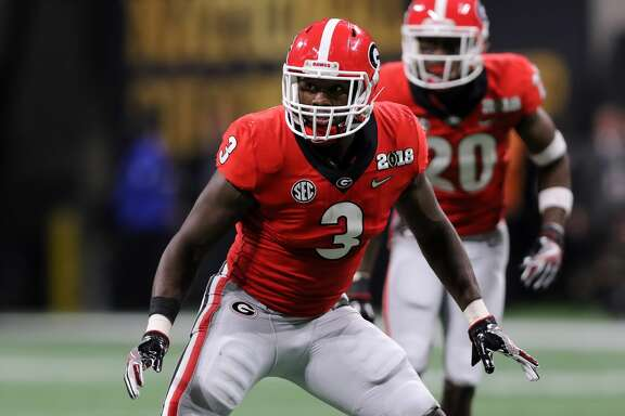 ATLANTA, GA - JANUARY 08:    Georgia Bulldogs linebacker Roquan Smith (3) during the College Football Playoff National Championship Game between the Alabama Crimson Tide and the Georgia Bulldogs on January 8, 2018 at Mercedes-Benz Stadium in Atlanta, GA.    (Photo by Michael Wade/Icon Sportswire via Getty Images)