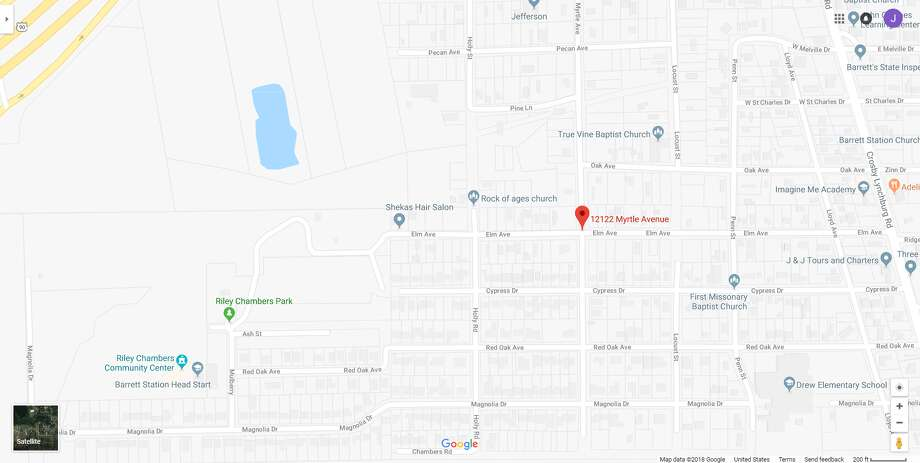 FILE - A screenshot of a Google Maps image of 12100 block of Myrtle Avenue in Crosby, Texas. Thursday, a woman shot and killed her boyfriend at their home in the area. Photo: File/Google