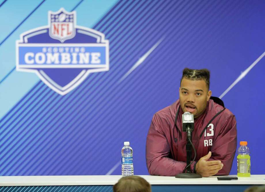 Louisiana State running back Derrius Guice speaks during a press conference at the NFL football scouting combine, Thursday, March 1, 2018, in Indianapolis. (AP Photo/Darron Cummings) Photo: Darron Cummings, Associated Press / Copyright 2018 The Associated Press. All rights reserved.