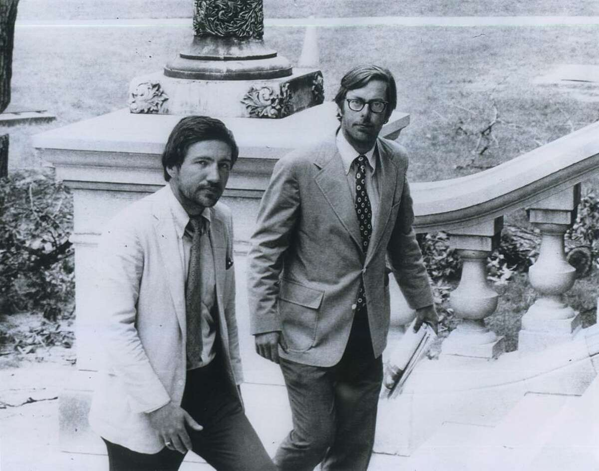 Rolland Kidder (left) and William Hoyt walk up the Capitol steps in Albany in the summer of 1975.