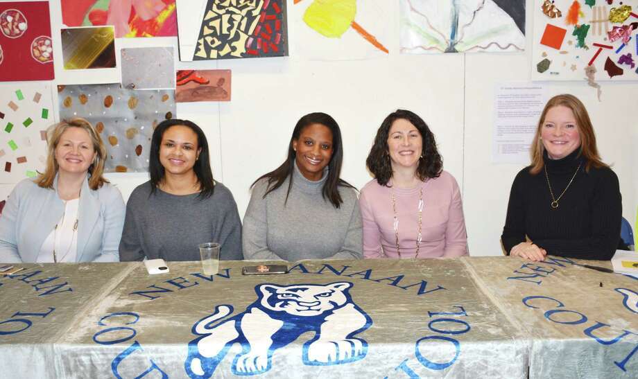 New Canaan Country School's Career Transitioning Panel Discussion Feb. 5 included parent-panelists Rebecca Thornton, of Darien, Janelle Wideman, of Norwalk, Yolanda Coffield, of Stamford, Laura Pollack, of New Canaan, and moderator Susanna Nichols, of New Canaan. Photo: Contributed Photo / New Canaan News